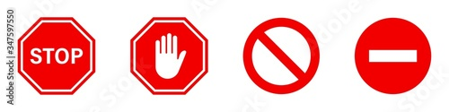 Fototapeta Stop red road signs. Vector isolated illustration. Red vector signs with hand symbols isolated on white background. obraz