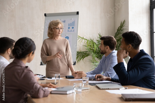 Confident mature 60 year old businesswoman presentation new project in boardroom at company meeting Canvas Print