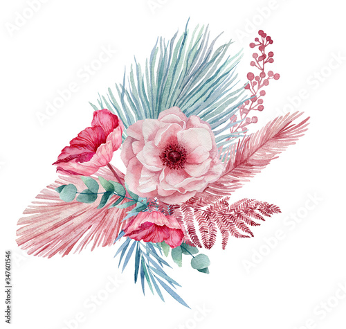 Photo Watercolor illustration of a bouquet with anemones, palm leaves, eucalyptus, fern leaves