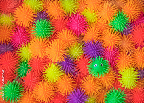 Beautiful multi-colored hairy rubber toys Wallpaper Mural