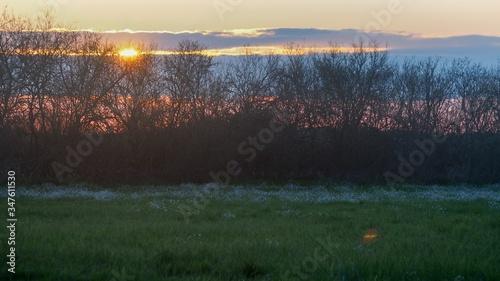 Fototapeta Zachód słońca na łąkach obraz