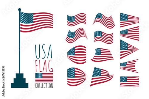 USA waving flag collection on white background Tapéta, Fotótapéta