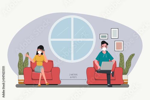 Obraz People maintain social distancing. Stop covid-19 coronavirus. New normal lifestyle in job. Interior design cartoon character. - fototapety do salonu