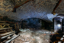 Abandoned Empty Old Dark Underground Vaulted Cellar