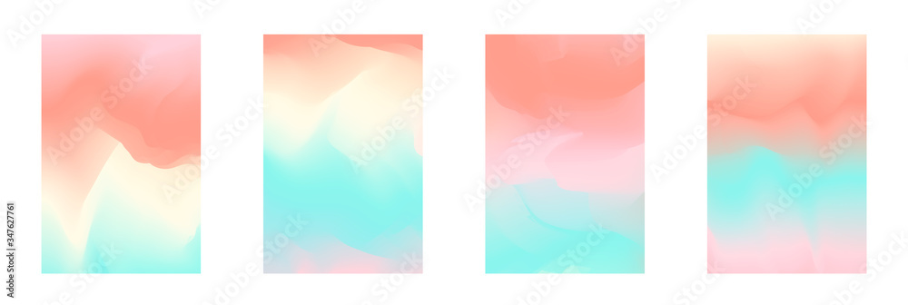 Fototapeta Abstract tender pastel coral and teal blue vibrant gradient colors backgrounds for fashion flyer, brochure design. Set of soft, delicate wallpaper for mobile apps, ui design, banner, poster
