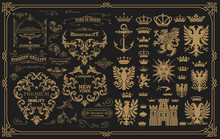 Set Of Heraldic Elements And Baroque Ornaments