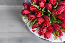 Bouquet Of Flowers. Red Tulips.