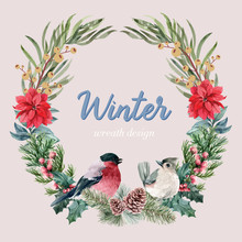Winter Floral Blooming Wreath ...