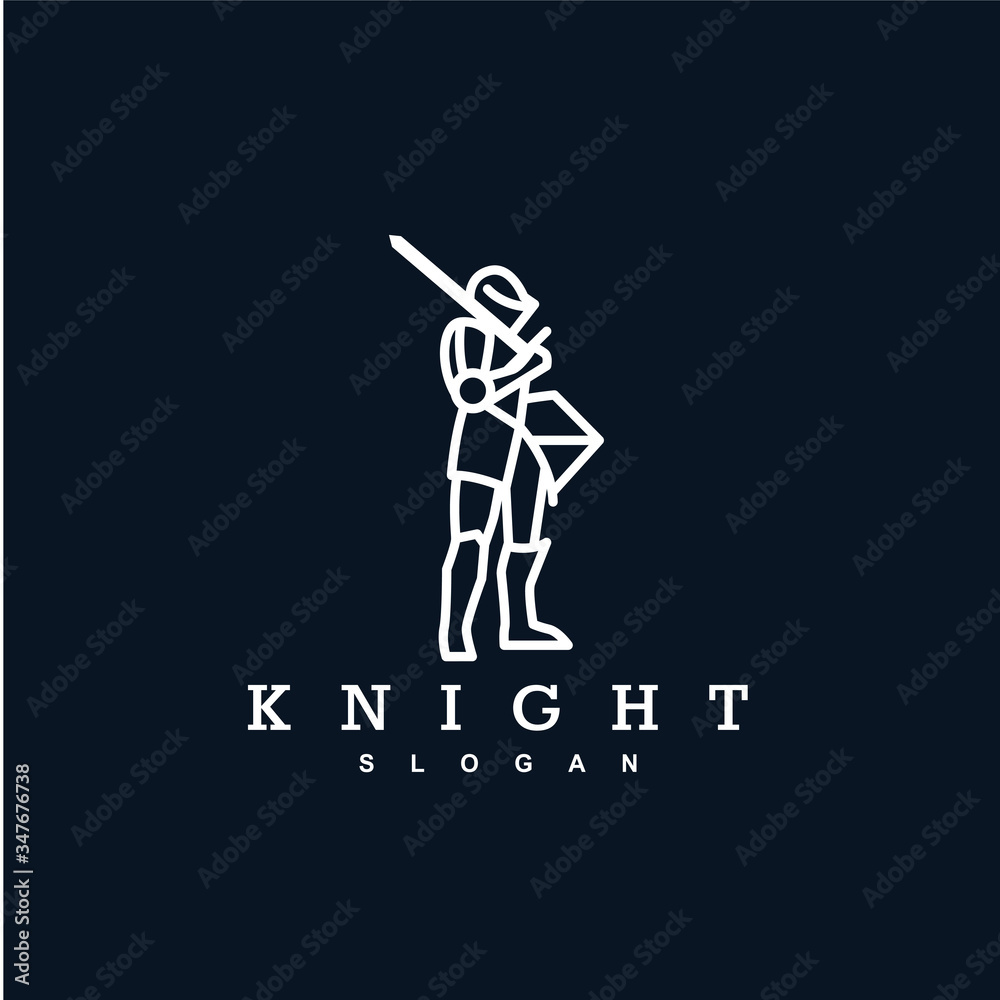 Fototapeta simple knight logo design vector