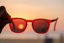 Red Sunglasses With Reflection...