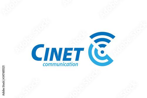 Fotografie, Obraz C letter logo design for communication, technology, telecommunication, internet, etc