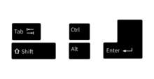Keyboard Shortcut Icon Vector Image On White Background. (Shift Key, Alt Key, Enter Key, Tab Key, Ctrl Key Flat Style)