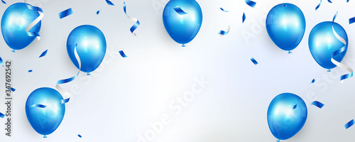 Fotografie, Tablou Celebration party banner with Blue color balloons background