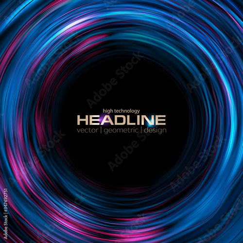 Fototapeta Bright liquid wavy circles abstract hi-tech background. Vector illustration obraz
