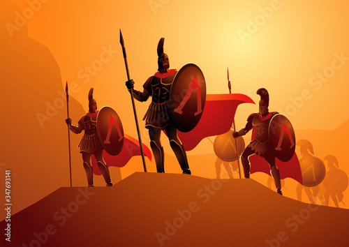 Fotografie, Obraz Three Hundred Spartans at the Battle of Thermopylae