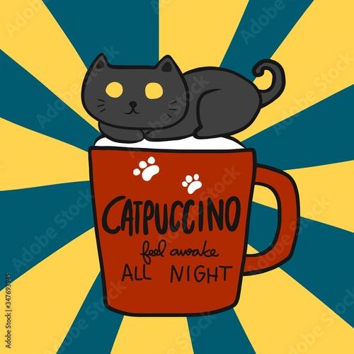 Photo Catpuccino feel awake all night (Black cat on cappuccino coffee cup cartoon vect