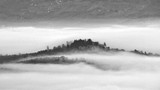 View Of Fog Over Mountain Against Cloudy Sky - 347696156