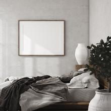 Mockup Frame In Luxury Bedroom Interior, Loft Style, 3d Render