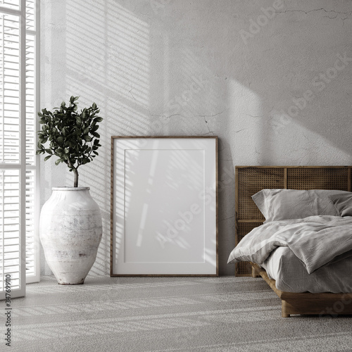Mockup frame in luxury bedroom interior, loft style, 3d render