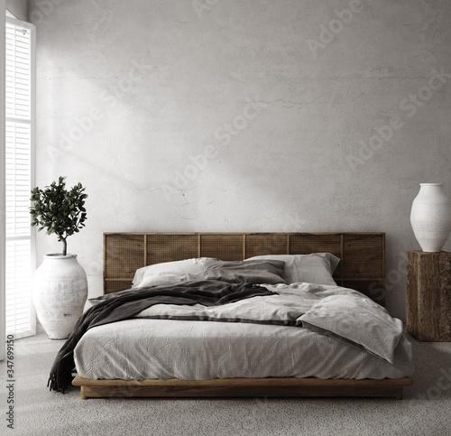 Obraz Luxury bedroom interior with minimal decor, loft style, 3d render - fototapety do salonu