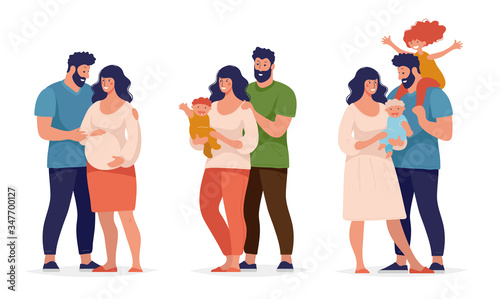Fotografia Set of different periods in the relationship of a couple, pregnancy, newborn, big happy family
