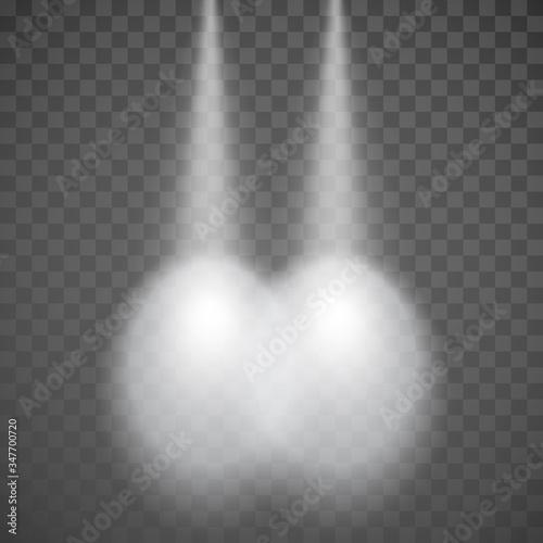 Fototapeta Car lights. Automobile headlight. light rays of vehicle headlights top view. Vector obraz na płótnie