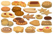 Biscuit Vector Cartoon Set Ico...