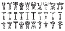 Electric Poles Vector Black Se...
