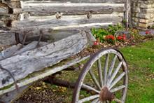 Abandoned Wagon Wheel Cart In Yard