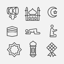 Ramadan Line Icon Set, Islamic...