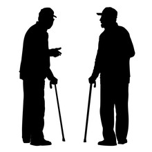 2D Silhouette Of Two Old Men T...