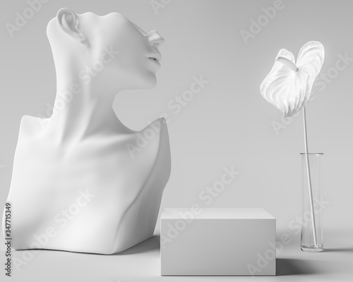 Photo Cosmetic product display white sculpture, woman accessories art jewelry backgrou