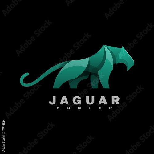 Vector Logo Illustration Jaguar Gradient Colorful Style. Poster Mural XXL