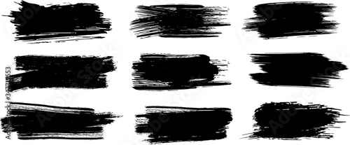 Obraz Brush Strokes. Set of four black grunge design elements. Paintbrush Boxes for text. Grunge design elements. Dirty texture banners. Vector illustration. - fototapety do salonu