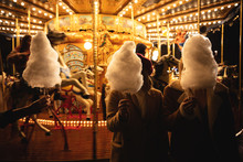 A Cotton Candy In Front Of An Ancient German Horse Carousel Built In 1896 In Navona Square, Rome, Italy