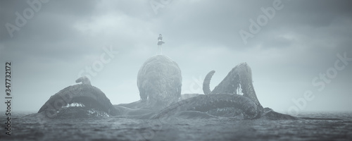 Photo Giant Kraken with Girl Beast Master Rising out of the Sea 3d illustration 3d ren