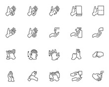 Hands Washing Line Icons Set. ...