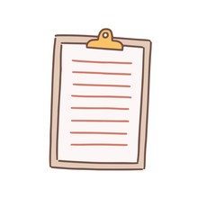 Cartoon Note Paper Blank With Clip Board Vector Flat Illustration. Colorful Sheet To Writing Notes Isolated On White Background. Lined Hand Drawn List Attached To Clipboard