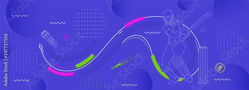 Stampa su Tela illustration of Player bat, ball and helmet on cricket sports