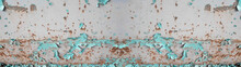 Aquamarine Turquoise Painted Exfoliated Peeled Rusty Bright White Metal Wall Texture, With Space For Text, Background Panorama Banner