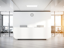 Blank White Reception Desk In ...