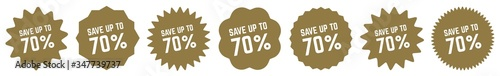 Fotografia Save Up To 70 Percent Tag Gold   70% Icon   Sticker   Deal Label   Variations