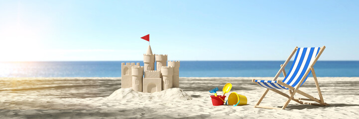 Sandcastle on the beach on vacation during summer vacation