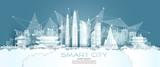 Fototapeta Miasto - Technology wireless network communication smart city with architecture south Korea.