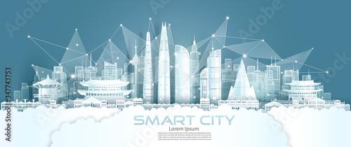 Fototapeta Technology wireless network communication smart city with architecture south Korea. obraz