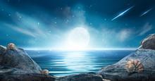 Night Futuristic Landscape. Re...