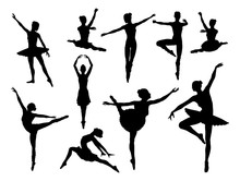 Ballet Dancer Set Of Silhouettes Dancing In Various Poses And Positions