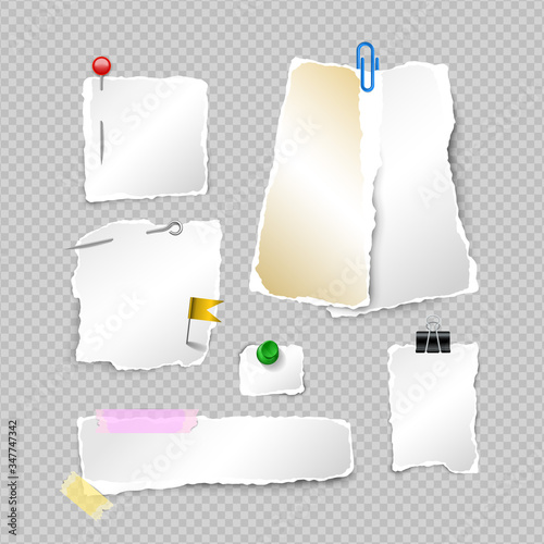 Photo Set of ragged sheets of paper, blank torn pages and elements for attaching paper