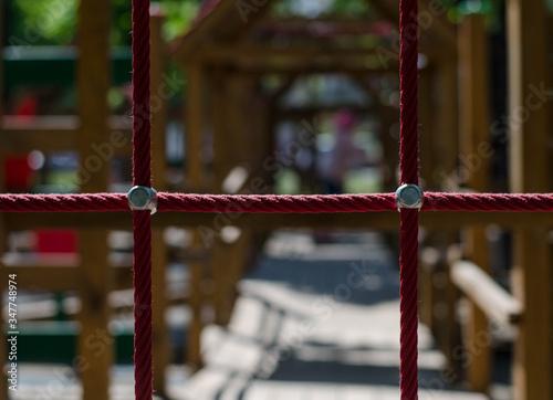 Sea rope. Barrage. Playground. Grid. Canvas Print
