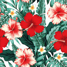 Tropical Leaves Flowers White Background Seamless